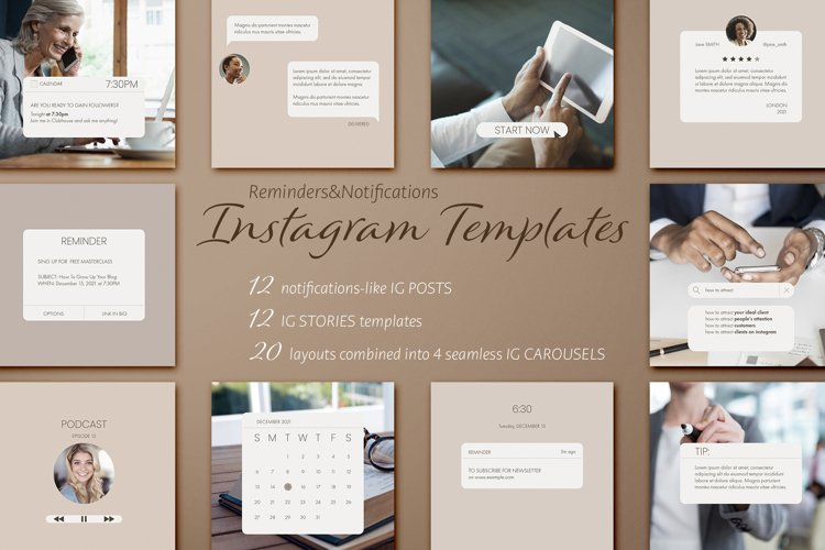 Reminders & Notifications Instagram Templates Pack