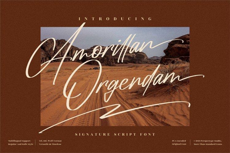 Amorillan Orgendam - Signature Script Font