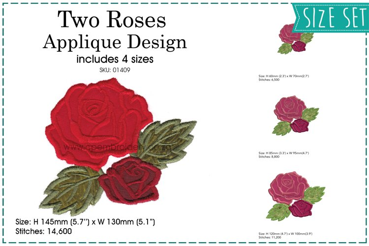 Two Roses Applique Design example image 1