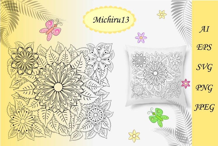 Floral zentangle, floral background, coloring book example image 1