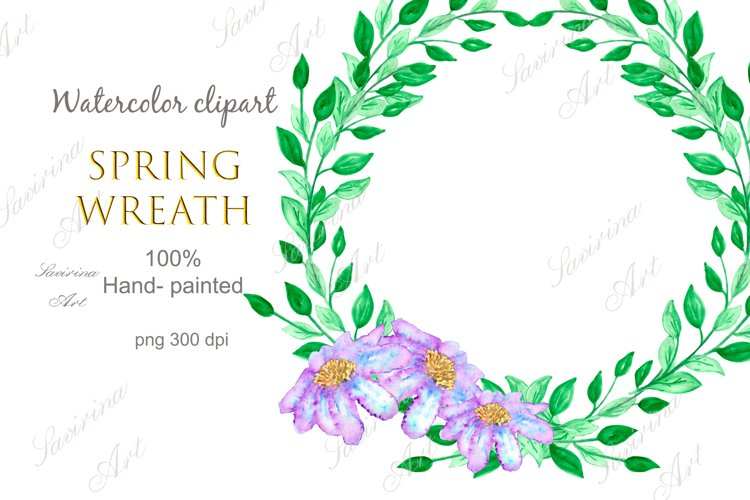 Watercolor clipart Spring wreath flower.Green leaves wreath.