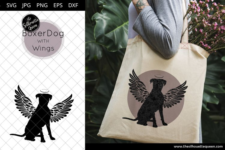 Boxer Dog #7 with Wings SVG, Pet Memorial, RIP Angel example image 1