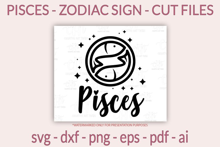 Pisces SVG - Zodiac sign SVG - Horoscope SVG, PNG, cut files