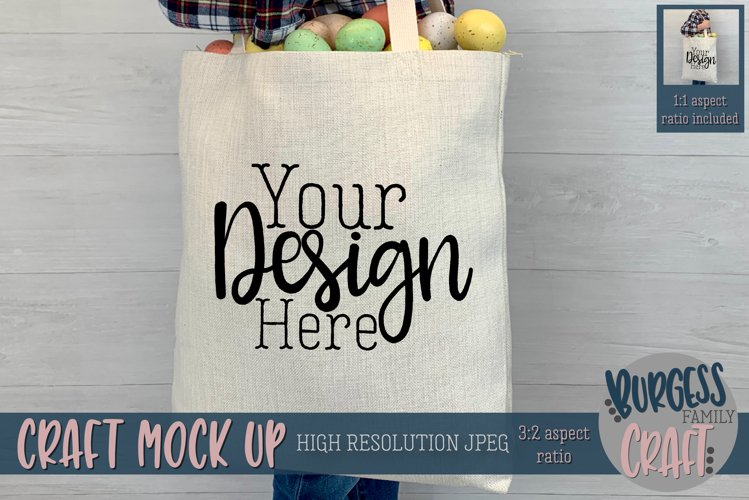 Boy holding easter bag Craft mock up example image 1