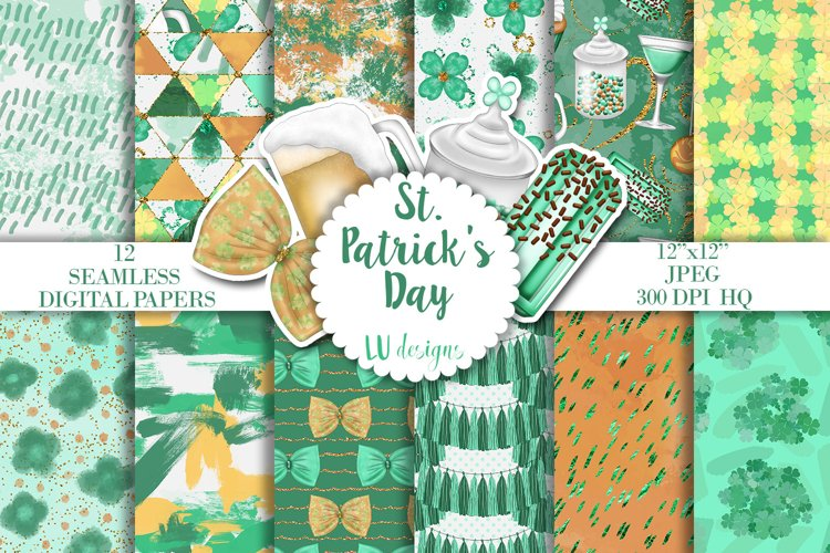 St Patricks Day Digital Papers, Irish Shamrock Patterns