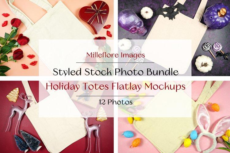 12 Totes Holiday Flatlay Mockups Styled Stock Photo Bundle
