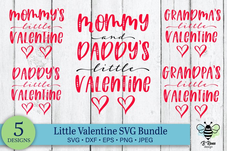 Mommy & Daddy's Little Valentine   Valentines Day SVG Bundle example image 1