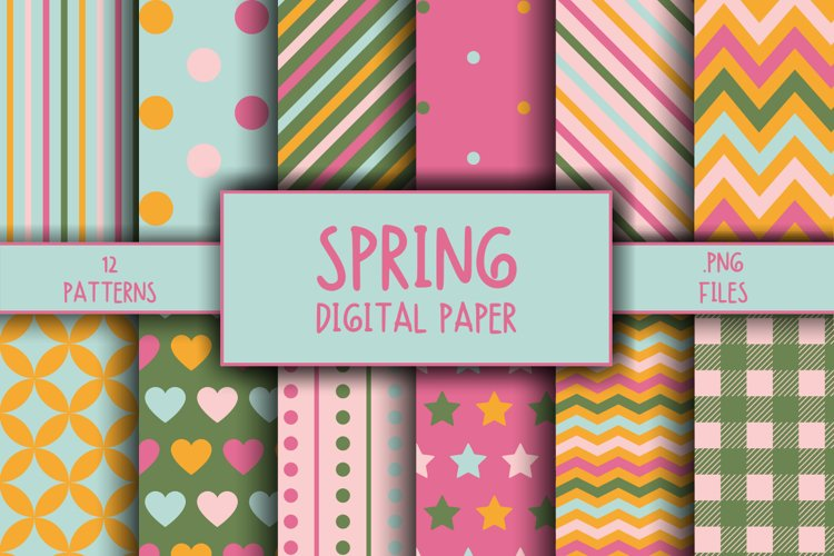 Spring Pattern Digital Paper example image 1