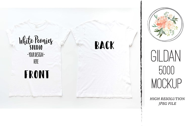 White GILDAN 5000 Shirt Mockup Back and Front example image 1