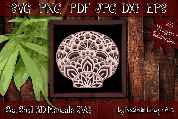 3D SVG Mandala Sea Shell 4 Layers Cutting File Sublimation example image 1