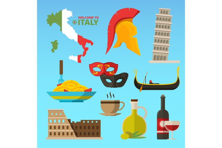 Vector historical symbols of rome italy. Illustrations in fl example image 1