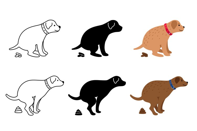 Pooping dog silhouettes example image 1