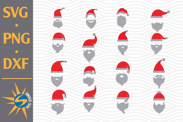 Santa Hat With Beard SVG, PNG, DXF Digital Files Include example image 1