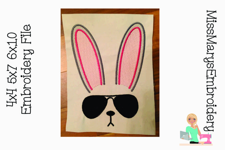 Sunglasses Easter Bunny Embroidery