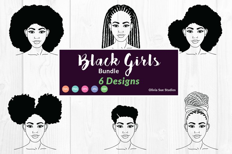 Afro Woman SVG, Afro Girl Cut Files For Cricut, Silhouette example image 1