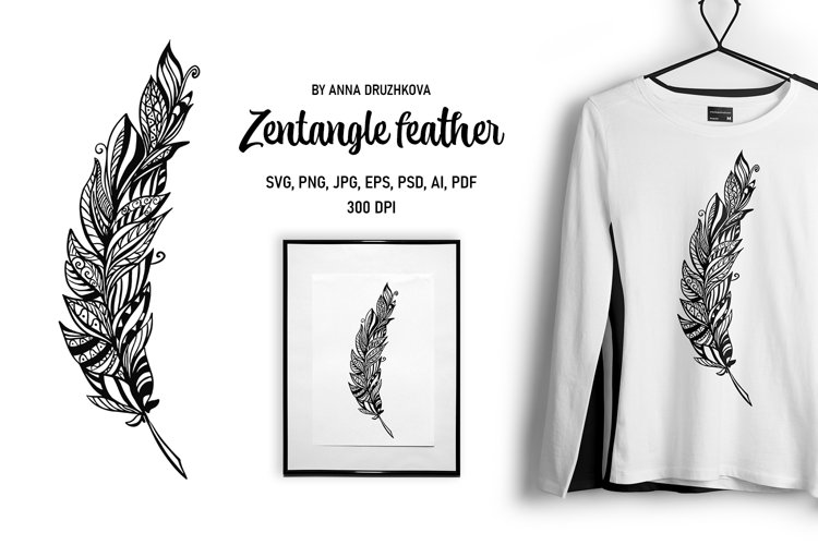 Zentangle Feather for sublimation and cutting