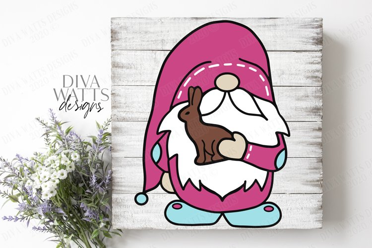 Easter Gnome with Chocolate Bunny - Cutting File SVG EPS PNG example image 1