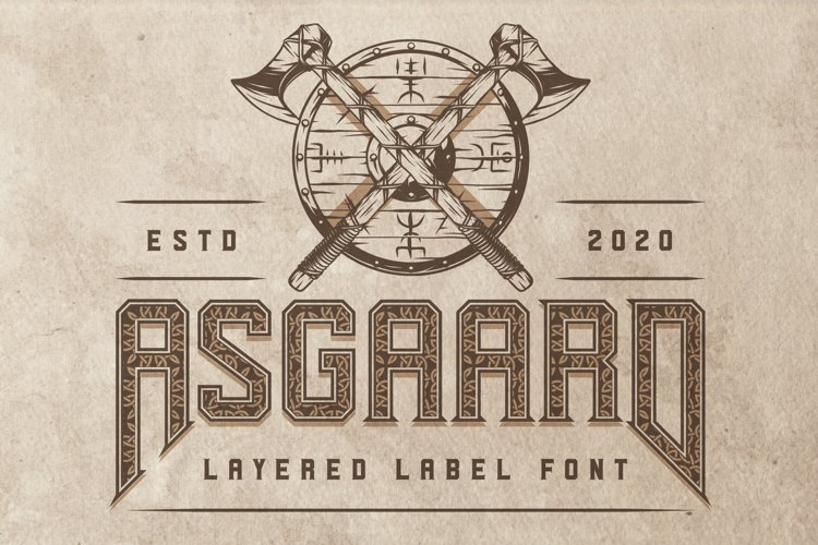 Asgaard layered label font example image 1