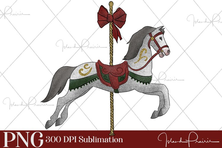Christmas Carousel Horse Sublimation File