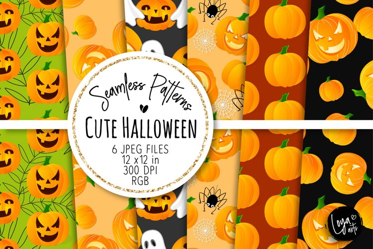 Cute Halloween Seamless Patterns 04 example image 1