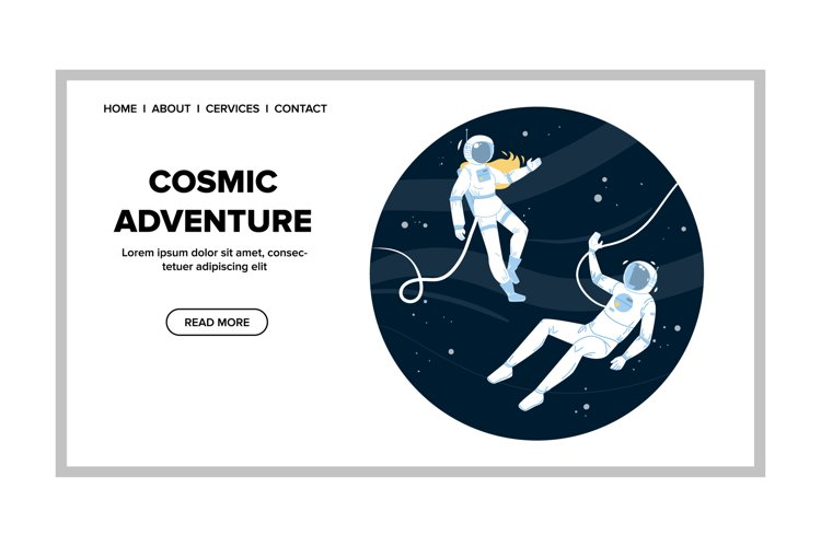 Cosmic Adventure Astronauts In Outer Space Vector