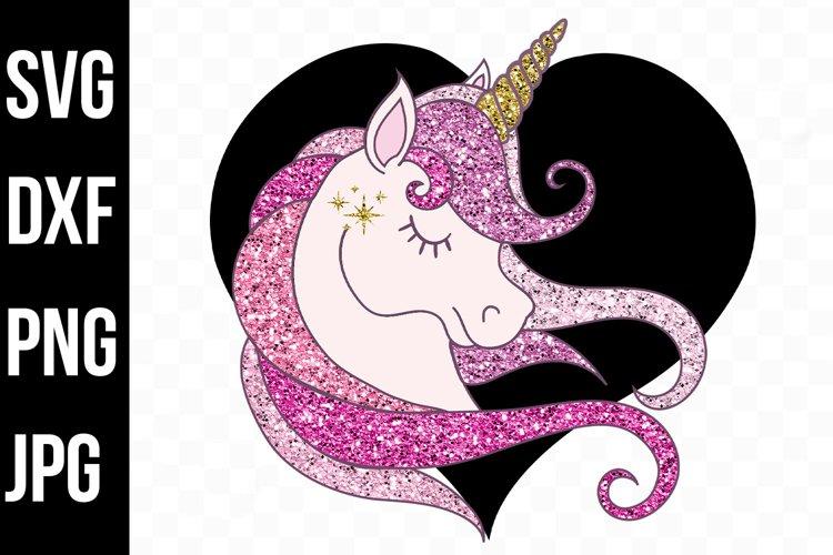 Black and Blush Pink Glitter Unicorn - svg, png, dxf, jpg example image 1