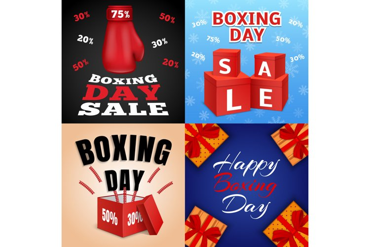 Happy boxing day banner set, realistic style example image 1