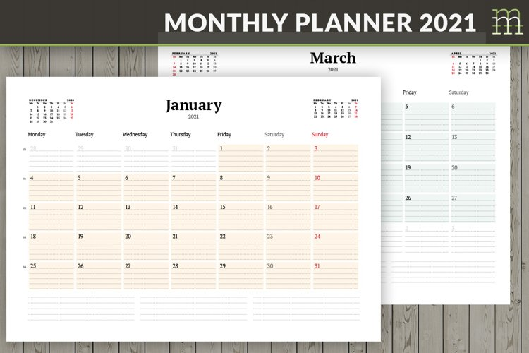 Monthly Planner 2021 example image 1