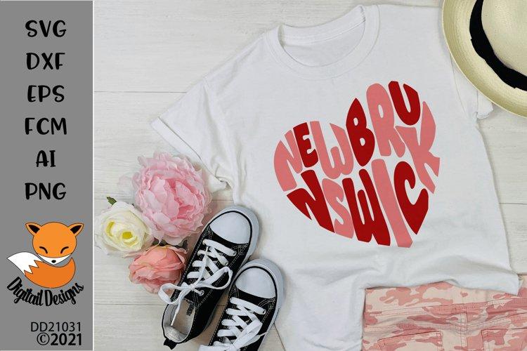 Canadian Province New Brunswick Heart Shaped Word Art SVG