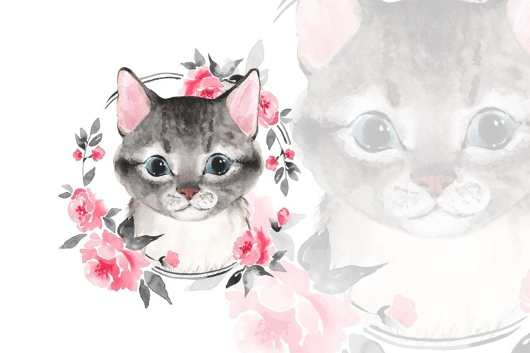Gray cat with flowers