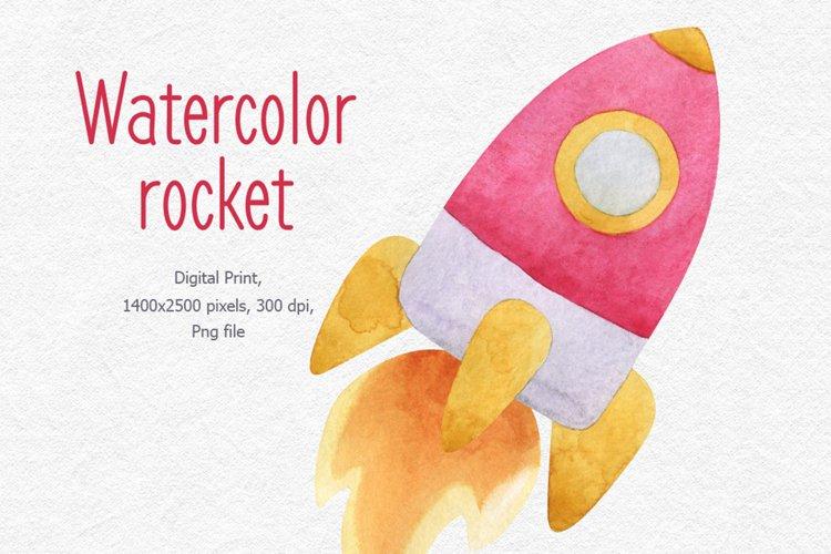 Watercolor rocket clipart, Watercolor spaceship png