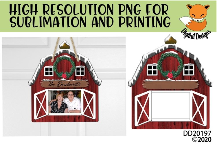 Customizable Red Christmas Barn PNG for Sublimation