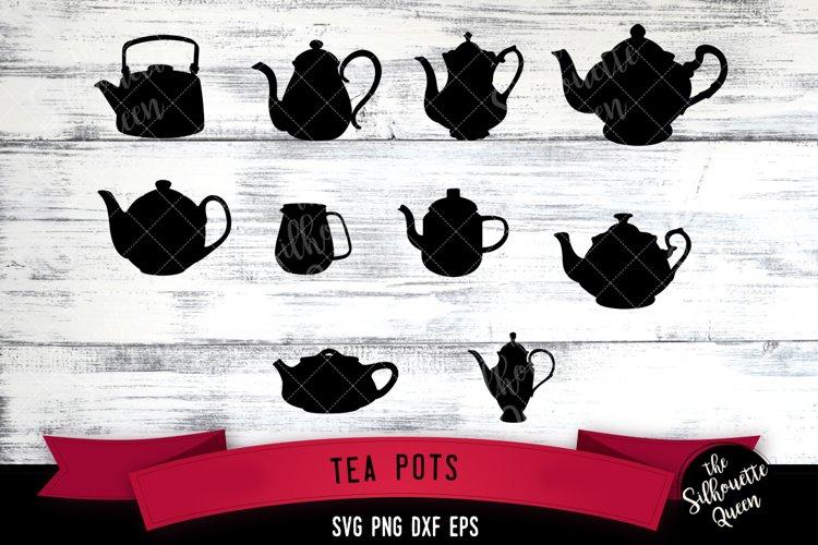 Tea Pots svg file, kettle svg cut file, silhouette studio example image 1