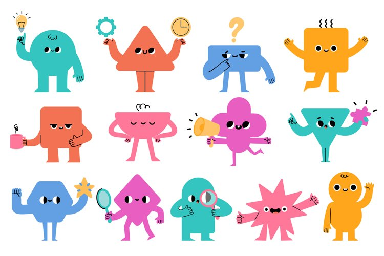 Abstract characters. Geometric comic creature emotions. Funn