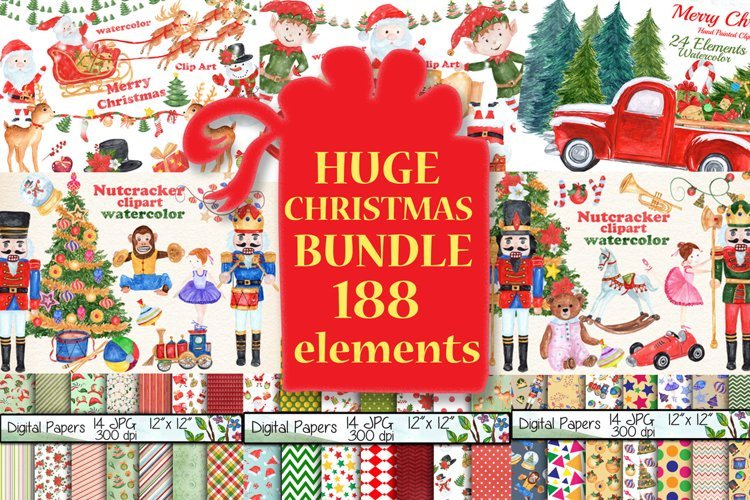 Bundle Watercolor Christmas Kids Clipart example image 1