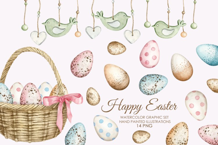 Watercolor easter eggs clipart. Holiday eggs in a basket.