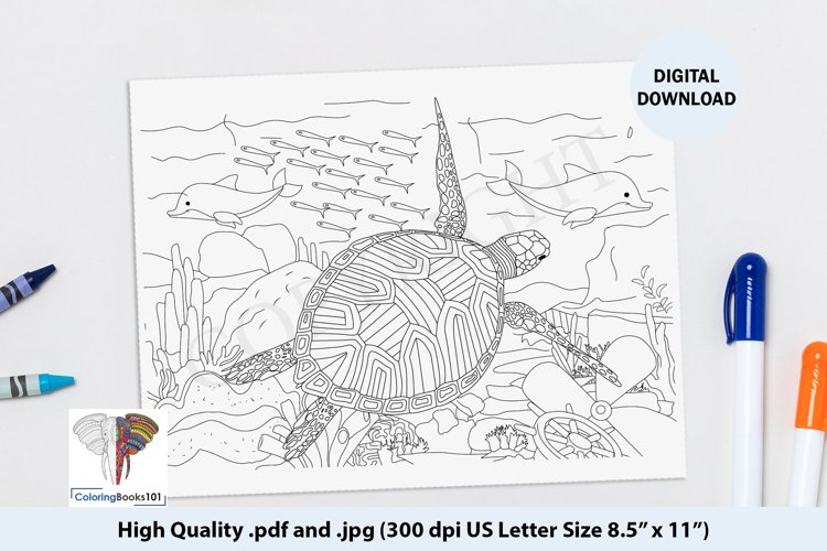 A Turtle and Sea Animal Ocean Coloring Page example image 1