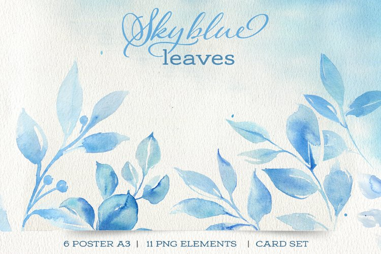 Blue leaves watercolor clipart.