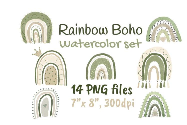 Neutral Rainbow Boho Watercolor Clipart example image 1