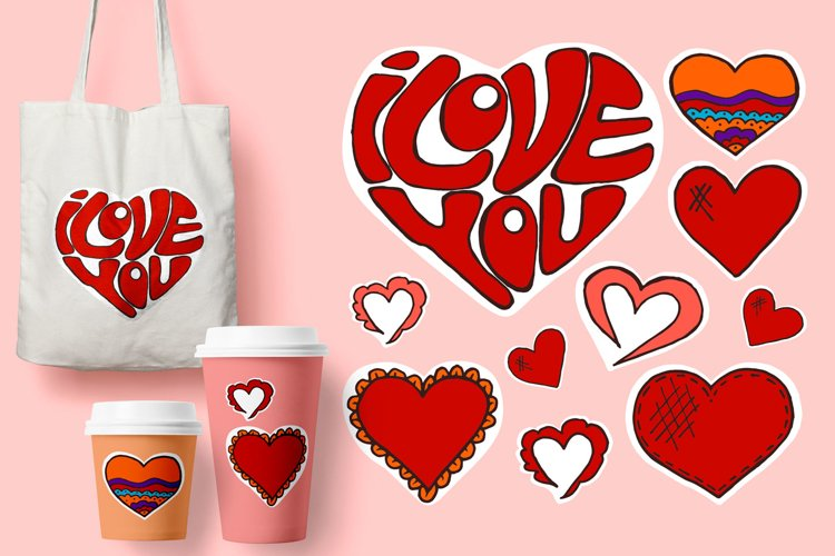 Sketch, stickers, pins. Doodle elements. Heart. Hand drawing example image 1