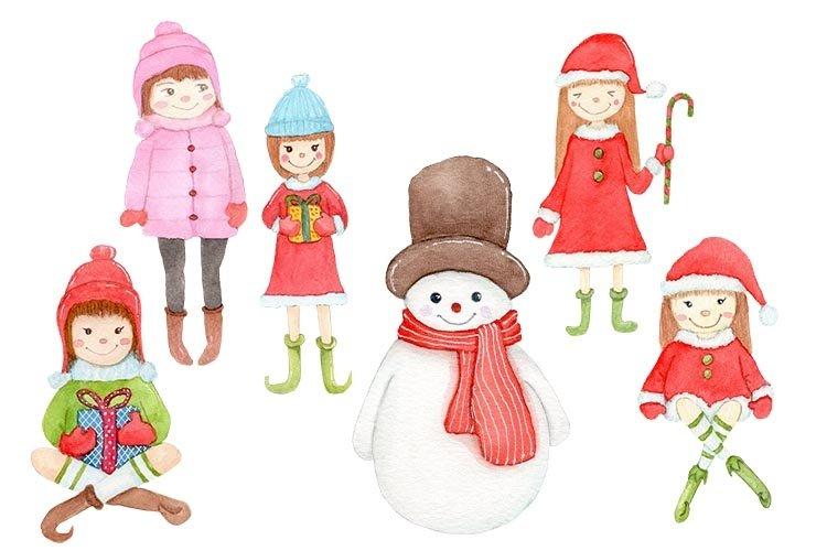 Cute Christmas Santa Girls Santa Girls Watercolor example image 1