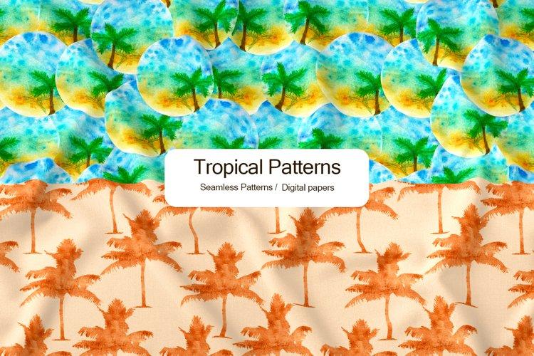 Watercolor tropical seamless pattern, scrapbook paper
