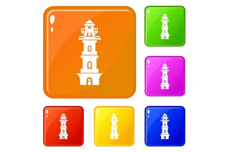 Coast lighthouse icons set vector color example image 1