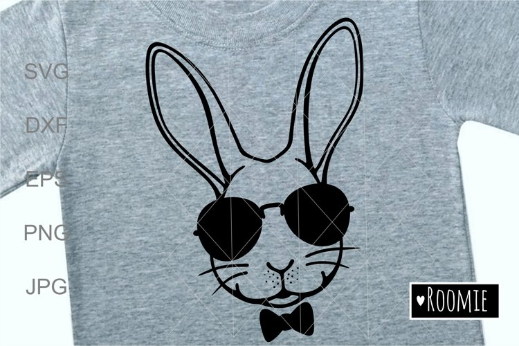 Rabbit face in sunglasses svg, Easter bunny Cut files Cricut example image 1
