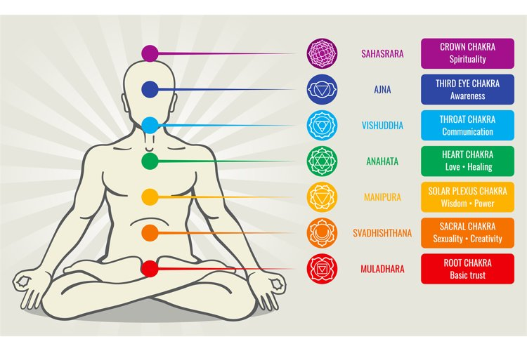 Human energy chakra system, ayurveda love asana vector illus example image 1