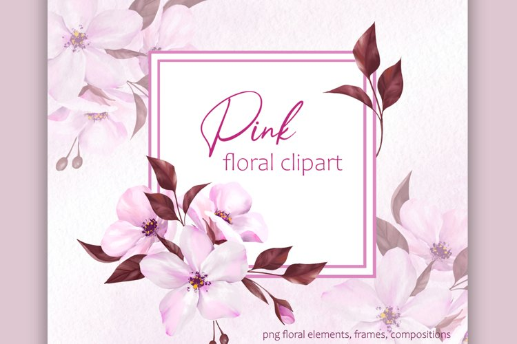Pink floral clipart, floral frames example image 1