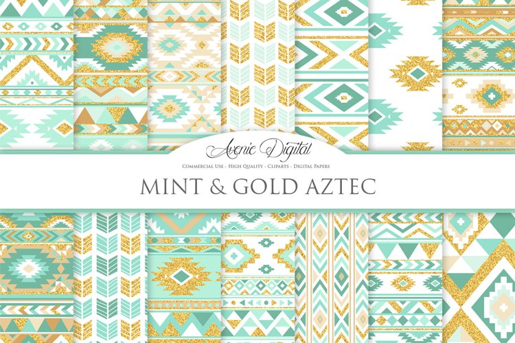Mint and Gold Boho Seamless Patterns example image 1