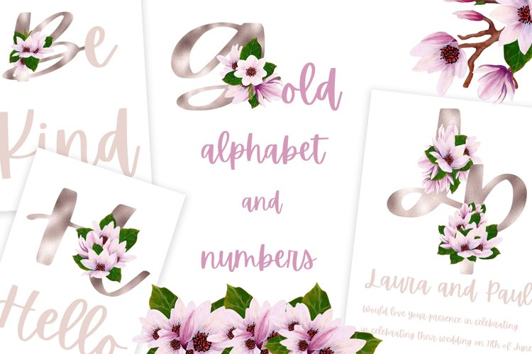 Gold magnolia alphabet and numbers example image 1