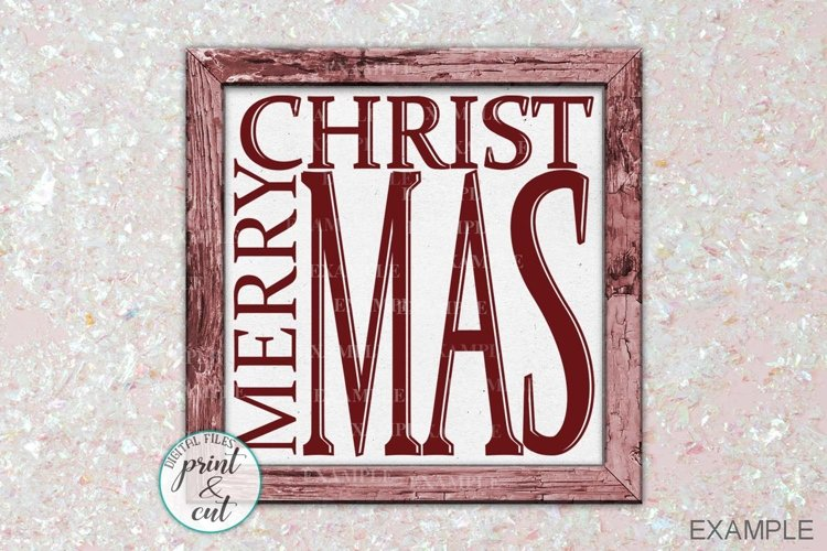 Merry Christmas Holidays Vintage Wooden framed sign cut file example image 1
