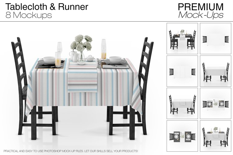 Tablecloth & Runner Mockup Set example image 1